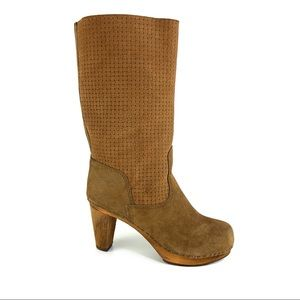 Anthro Sanitas Woven Suede & Wooden Heeled Boots